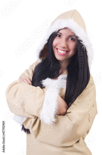 canvas print picture Woman eskimo isolated on white