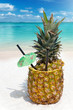 canvas print picture - Tropischer Ananas Cocktail am Strand