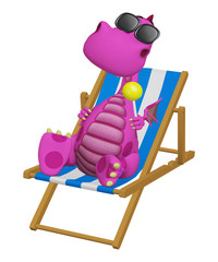 3d cartoon dragon relaxing in his beach chair