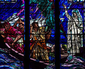 Wonder of Jesus: calming the storm in stained glass