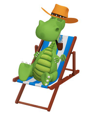 3d cartoon dragon smoking  in his beach chair