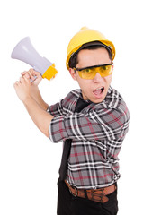 Construction supervisor shouting at megaphone
