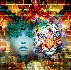 яркий фон тигром и дувушкой