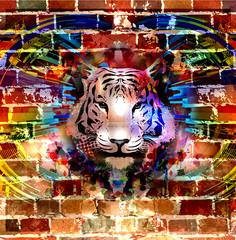 яркий фон тигром