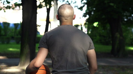 Man missed free throw on court in park, super slow motion