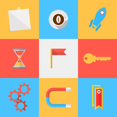 Flat icons for target of outsourced