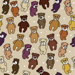 Seamless background with teddy bears