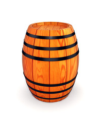 wooden wine or beer barrel isolated on white