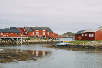 Rorbu, traditional fisherman's house, in Lofoten, Norway.