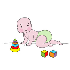 Creeping baby with toys