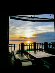 Resturant in sunset scene