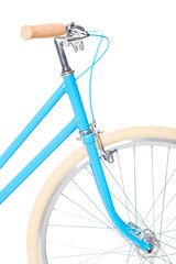 Stylish womens blue bicycle isolated on white