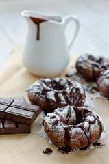 Doughnuts with chocolate sauce