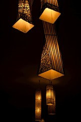 Lamp in balck wall