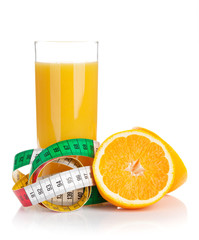 Orange juice and measuring tape. Diet food