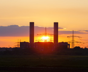 Power Station And Sunset