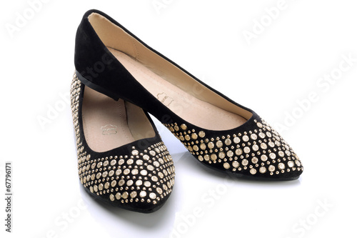 Black decorative and comfortable shoes for women - 67796171
