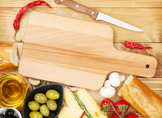 Empty cutting board for copy space and food