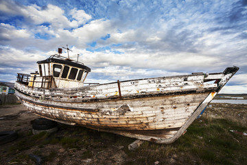 Old Boat on Abandoned Junk Yard.