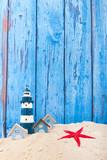 Beach houses and lighthouse