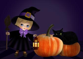маленькая ведьма с фонариком и метлой