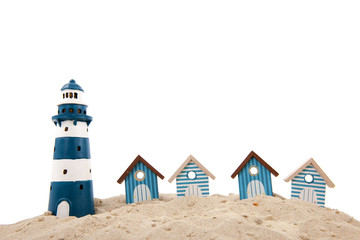 Beach houses and lighthouse