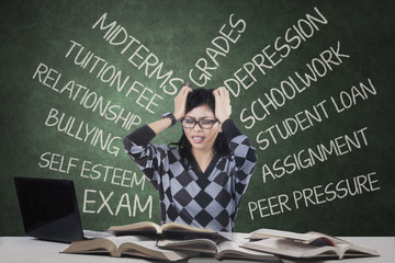 Stressful student having many problems