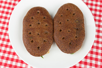 Two rye flatbred on a plate