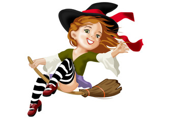 юная веселая ведьма на метле