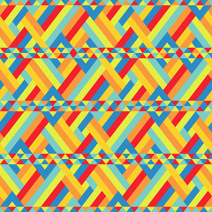 Colorful Ribbons Bound at Seamless Pattern