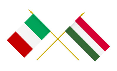 Flags, Italy and Hungary