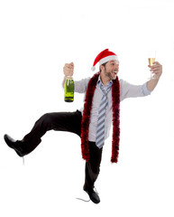 dancing drunk businessman with champagne in xmas santa hat