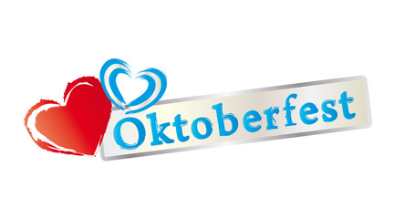 Schriftzug Oktoberfest - Herzen