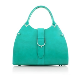 Women's handbag color of mint on a white background