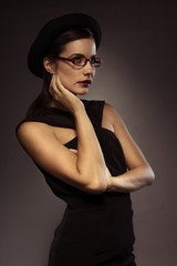 Beautiful stylish woman in glasses
