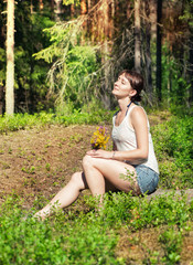 Woman enjoy sunlight outdoor