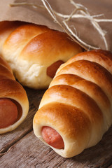 fresh rolls with sausage closeup unpacked paper vertical