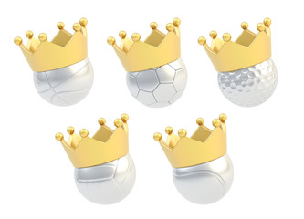 Five different balls in the crown