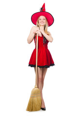 Witch in red dress with broom