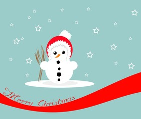 Snowman on blue background with red ribbon