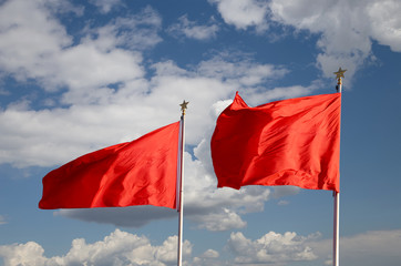 Red flags on the Tiananmen Square -- beijing