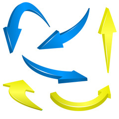 Yellow and blue arrows