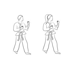 Karate doodle (man and woman)