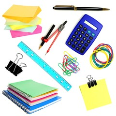 Variety of school or office supplies isolated on white