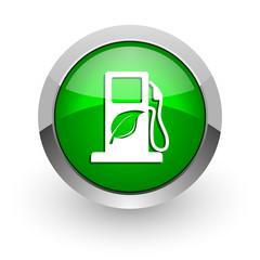 biofuel green glossy web icon