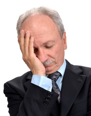 Senior businessman having headache