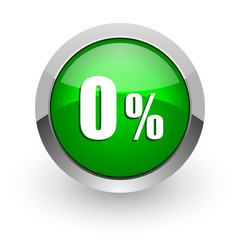 0 percent green glossy web icon