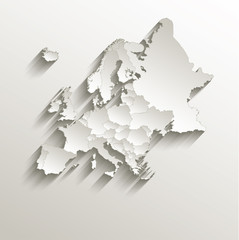 Europe political map 3D vector individual states separate