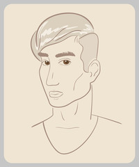 Handdrawn man face with brown eyes. close-up illustration -