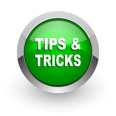 tips tricks green glossy web icon